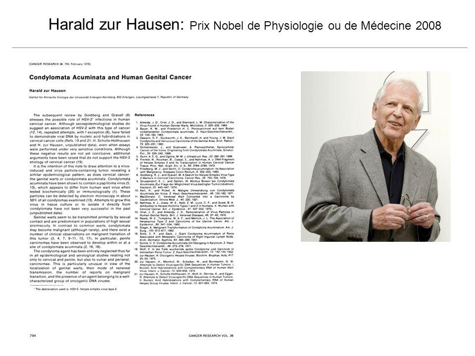 Harald zur Hausen: Prix Nobel de Physiologie ou de Médecine 2008