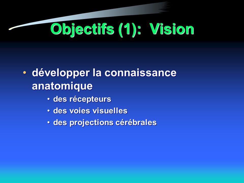 Objectifs (1): Vision développer la connaissance anatomique