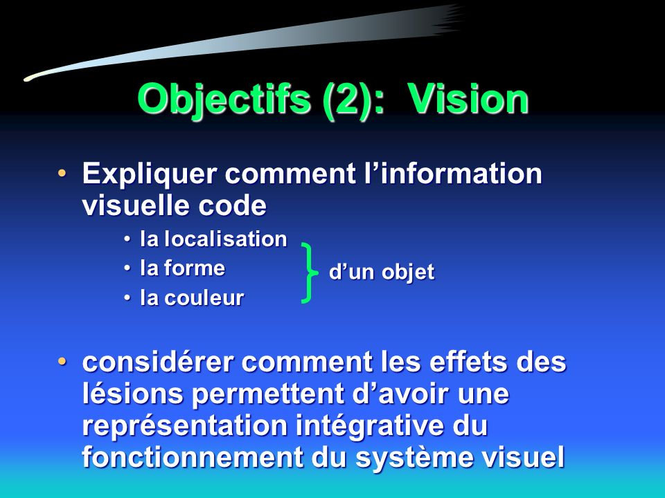 Objectifs (2): Vision Expliquer comment l'information visuelle code