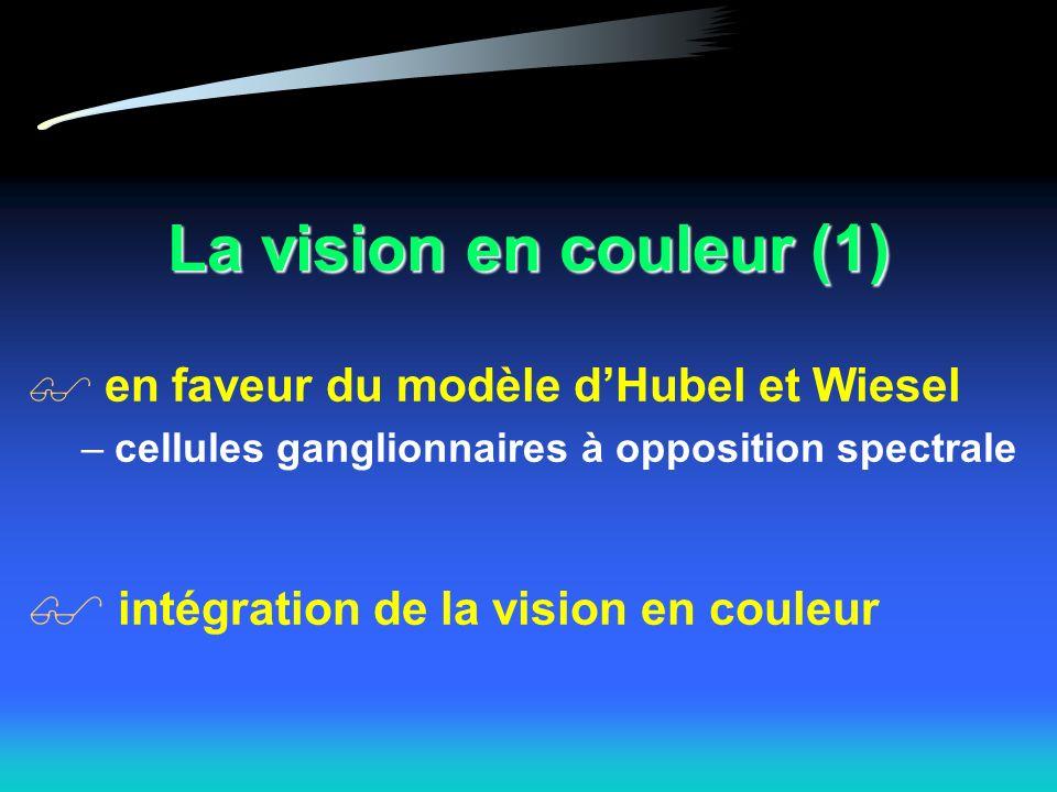 La vision en couleur (1) en faveur du modèle d'Hubel et Wiesel