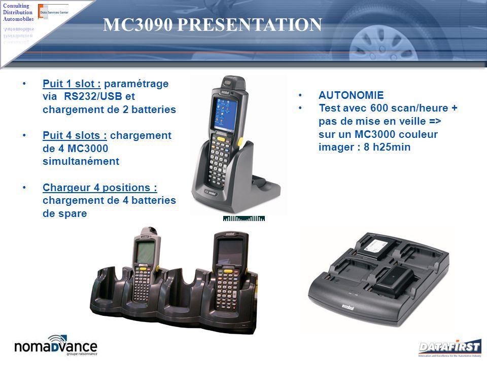 MC3090 PRESENTATION Puit 1 slot : paramétrage via RS232/USB et chargement de 2 batteries. Puit 4 slots : chargement de 4 MC3000 simultanément.
