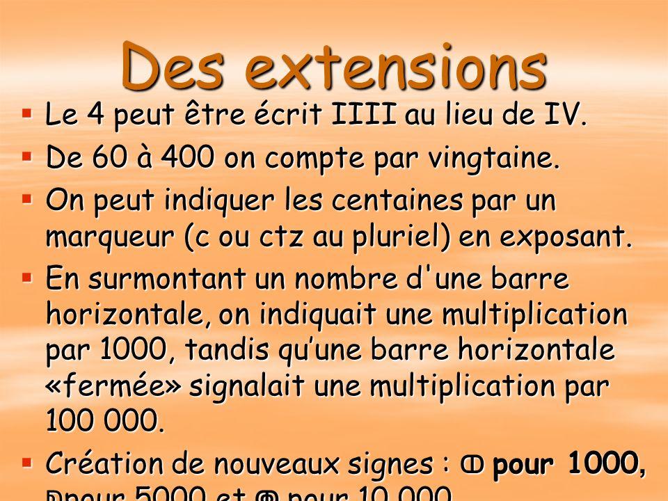Des extensions Le 4 peut être écrit IIII au lieu de IV.