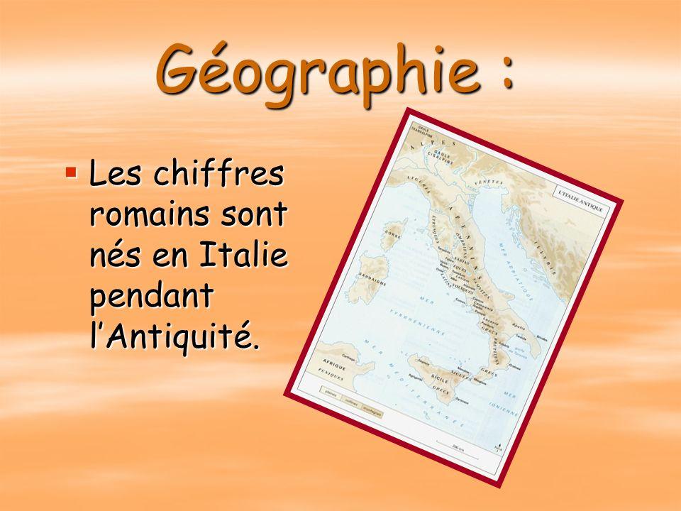 Géographie : Les chiffres romains sont nés en Italie pendant l'Antiquité.
