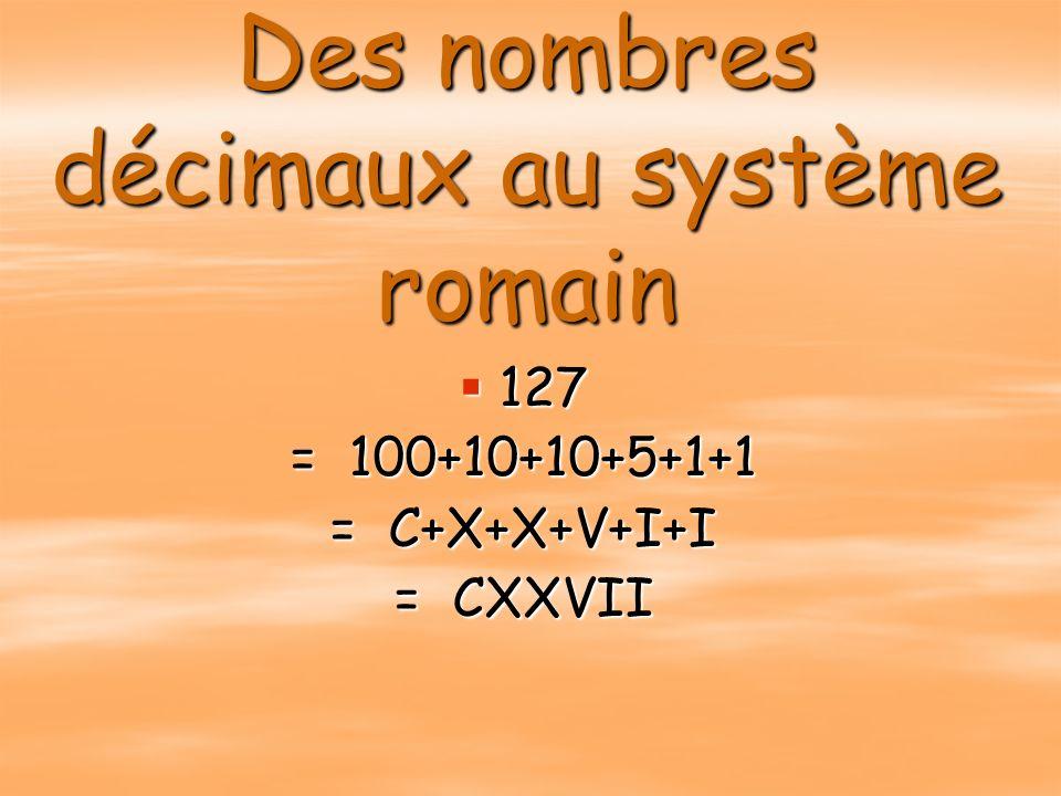 Des nombres décimaux au système romain