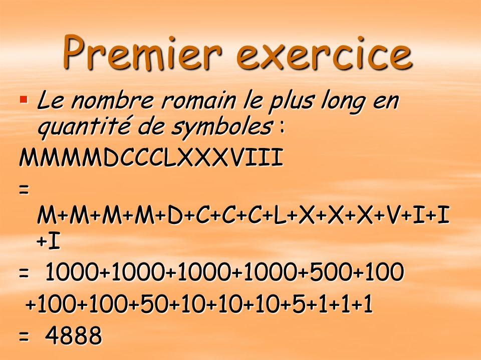 Premier exercice Le nombre romain le plus long en quantité de symboles : MMMMDCCCLXXXVIII. = M+M+M+M+D+C+C+C+L+X+X+X+V+I+I+I.