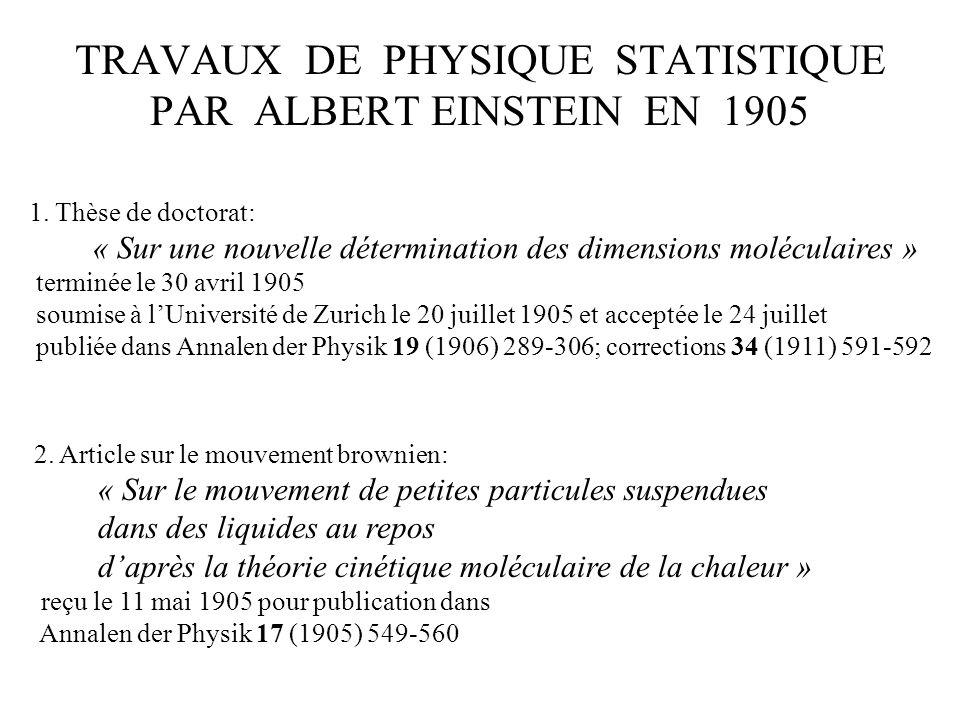 TRAVAUX DE PHYSIQUE STATISTIQUE PAR ALBERT EINSTEIN EN 1905