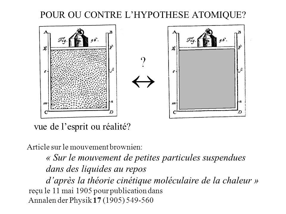 POUR OU CONTRE L'HYPOTHESE ATOMIQUE
