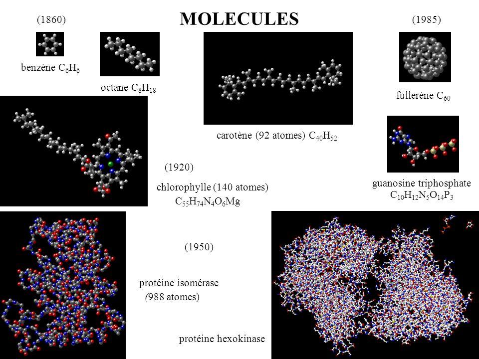 MOLECULES (1860) (1985) benzène C6H6 octane C8H18 fullerène C60