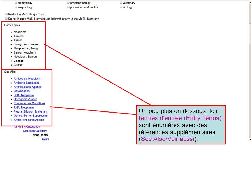 Un peu plus en dessous, les termes d entrée (Entry Terms) sont énumérés avec des références supplémentaires (See Also/Voir aussi).