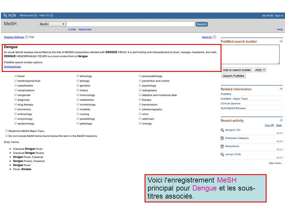 Voici l enregistrement MeSH principal pour Dengue et les sous-titres associés.