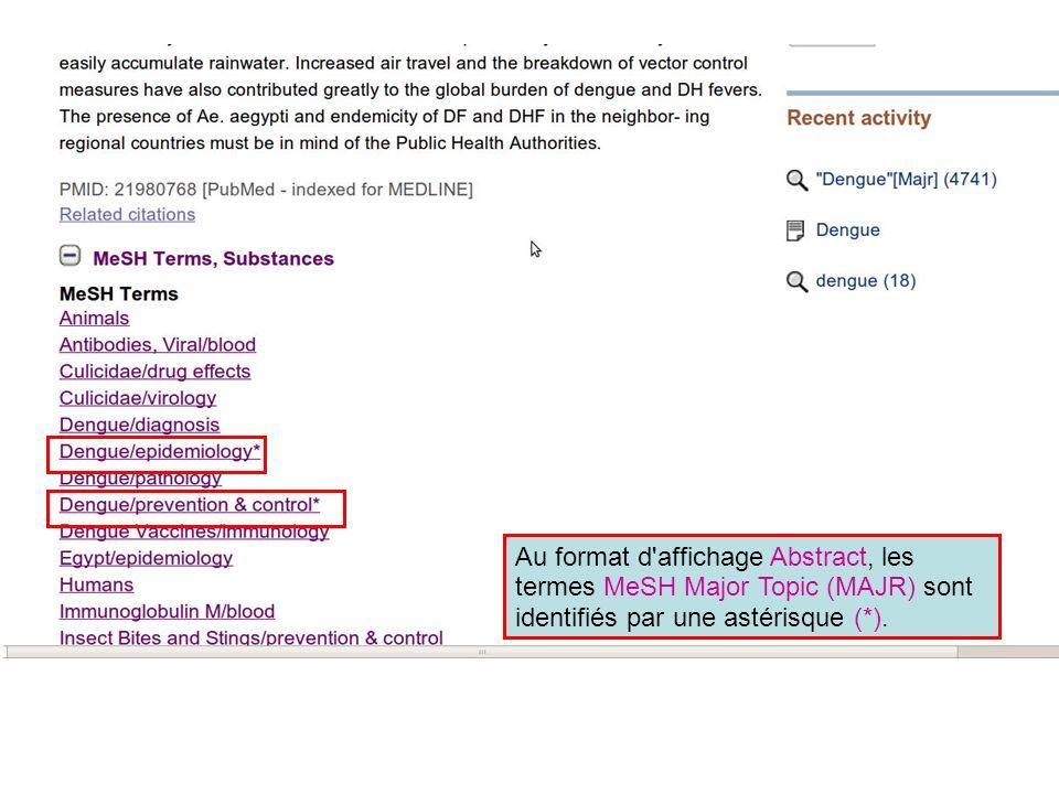 Au format d affichage Abstract, les termes MeSH Major Topic (MAJR) sont identifiés par une astérisque (*).