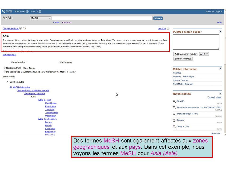 Dans cet exemple, nous voyons les termes MeSH pour Asia (Asie