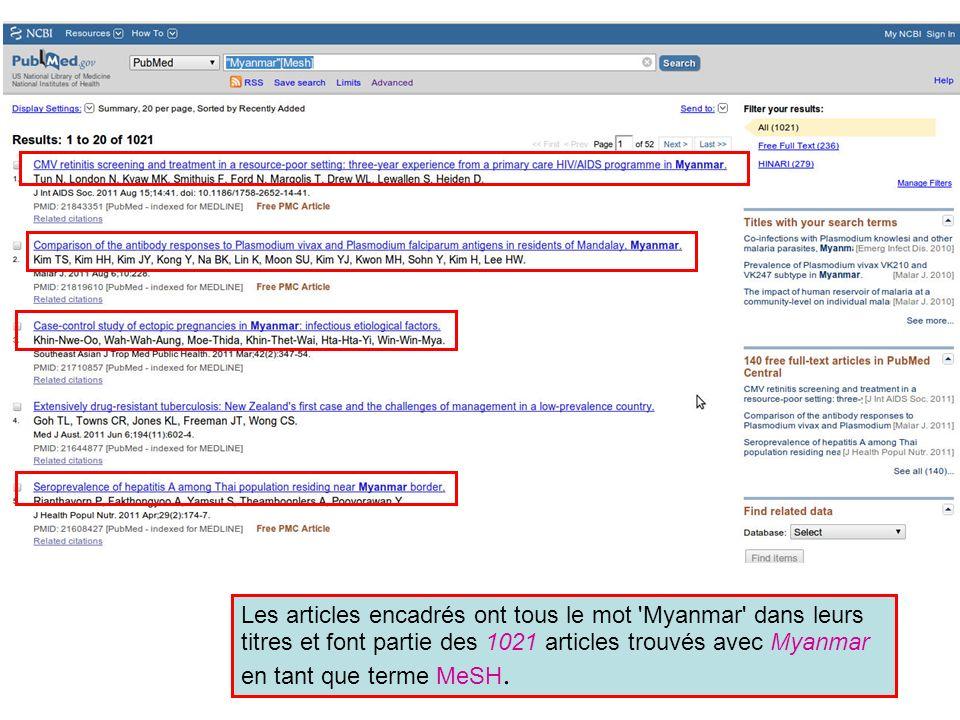 L article encadré sur les infections au Plasmoduim en Thailande comporte des informations sur Myanmar.