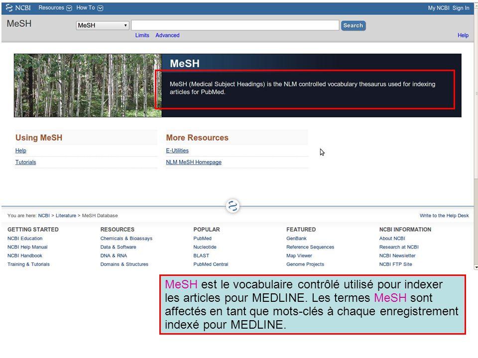 MeSH est le vocabulaire contrôlé utilisé pour indexer les articles pour MEDLINE. Les termes MeSH sont affectés en tant que mots-clés à chaque enregistrement indexé pour MEDLINE.