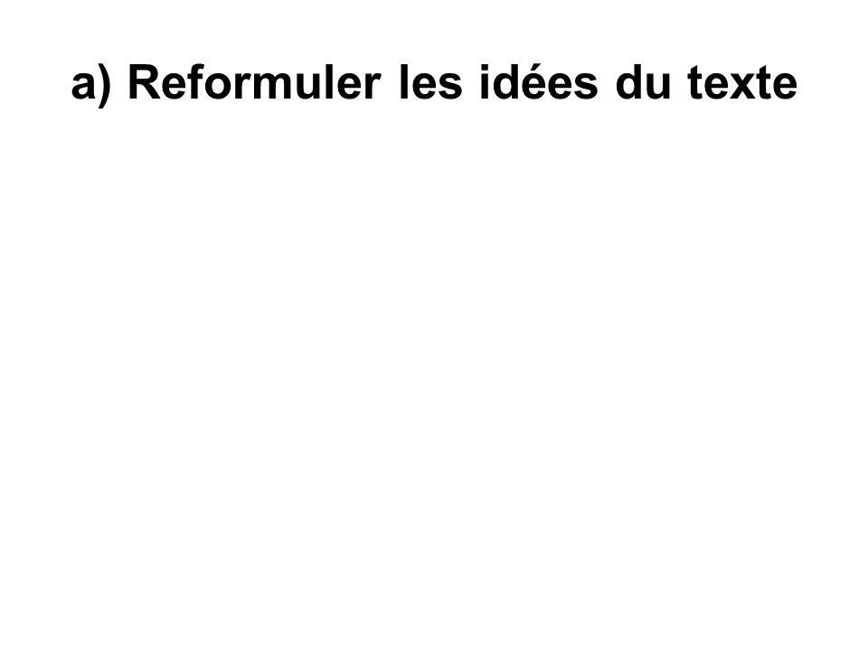 a) Reformuler les idées du texte