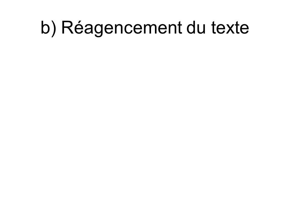 b) Réagencement du texte