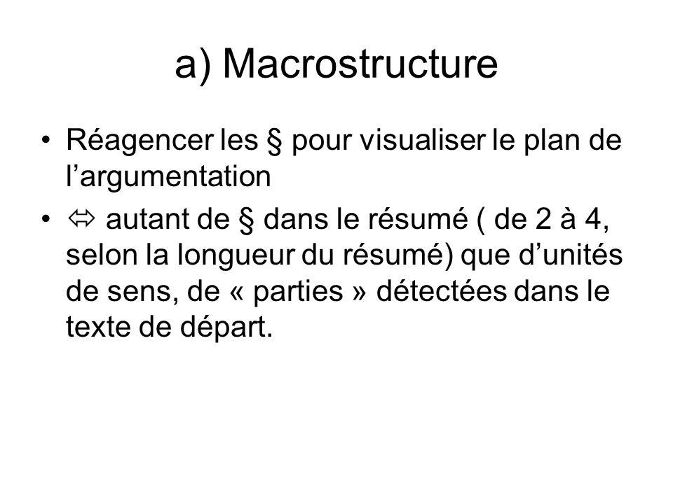 a) Macrostructure Réagencer les § pour visualiser le plan de l'argumentation.