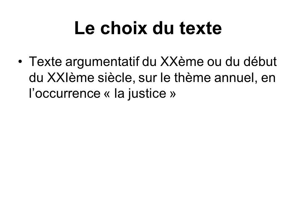 Le choix du texte Texte argumentatif du XXème ou du début du XXIème siècle, sur le thème annuel, en l'occurrence « la justice »