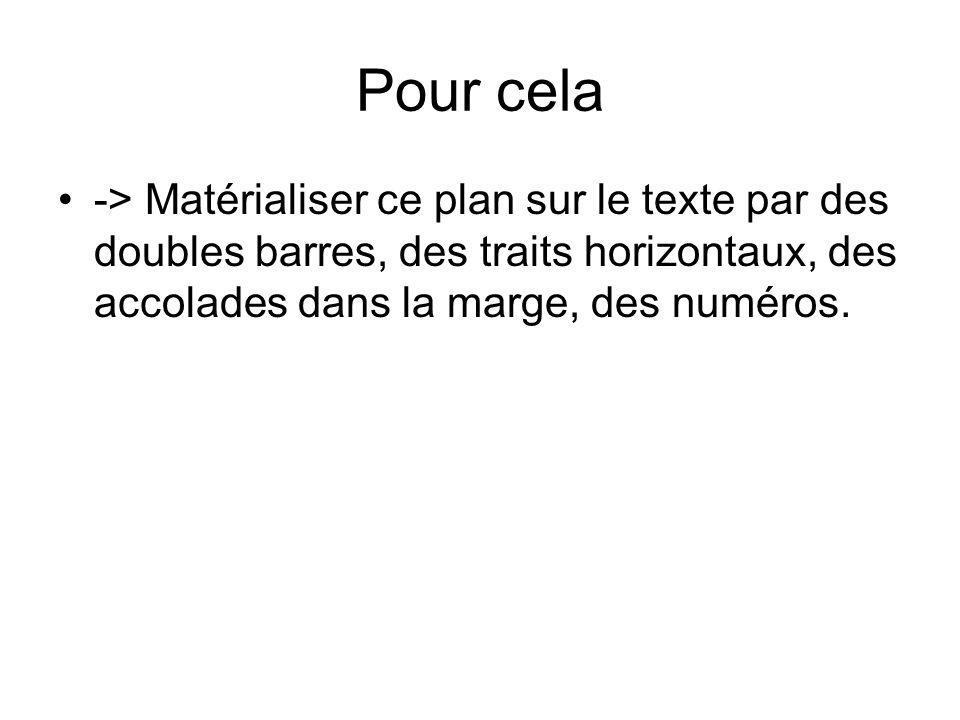 Pour cela -> Matérialiser ce plan sur le texte par des doubles barres, des traits horizontaux, des accolades dans la marge, des numéros.