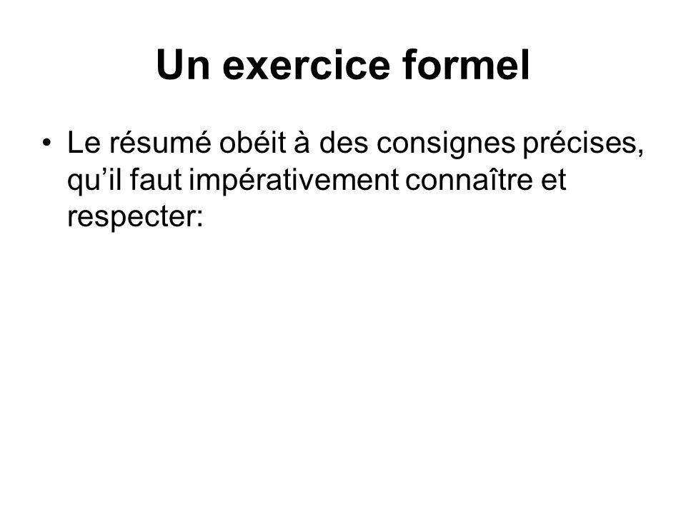 Un exercice formel Le résumé obéit à des consignes précises, qu'il faut impérativement connaître et respecter:
