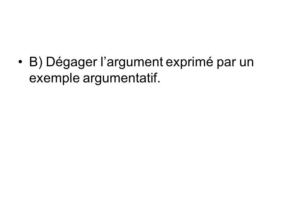 B) Dégager l'argument exprimé par un exemple argumentatif.
