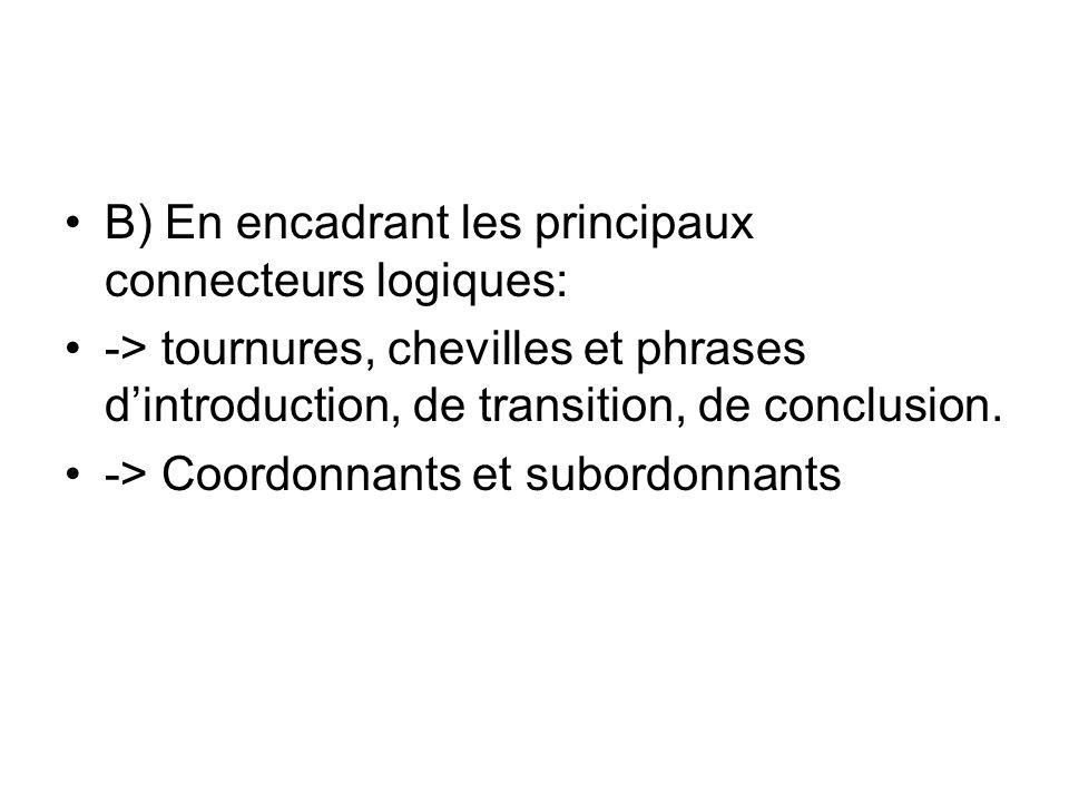 B) En encadrant les principaux connecteurs logiques:
