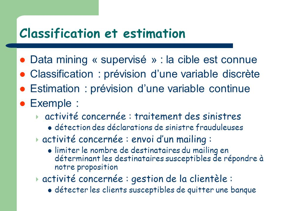 Classification et estimation