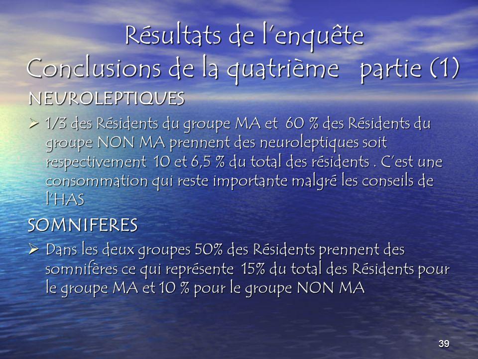 Résultats de l'enquête Conclusions de la quatrième partie (1)