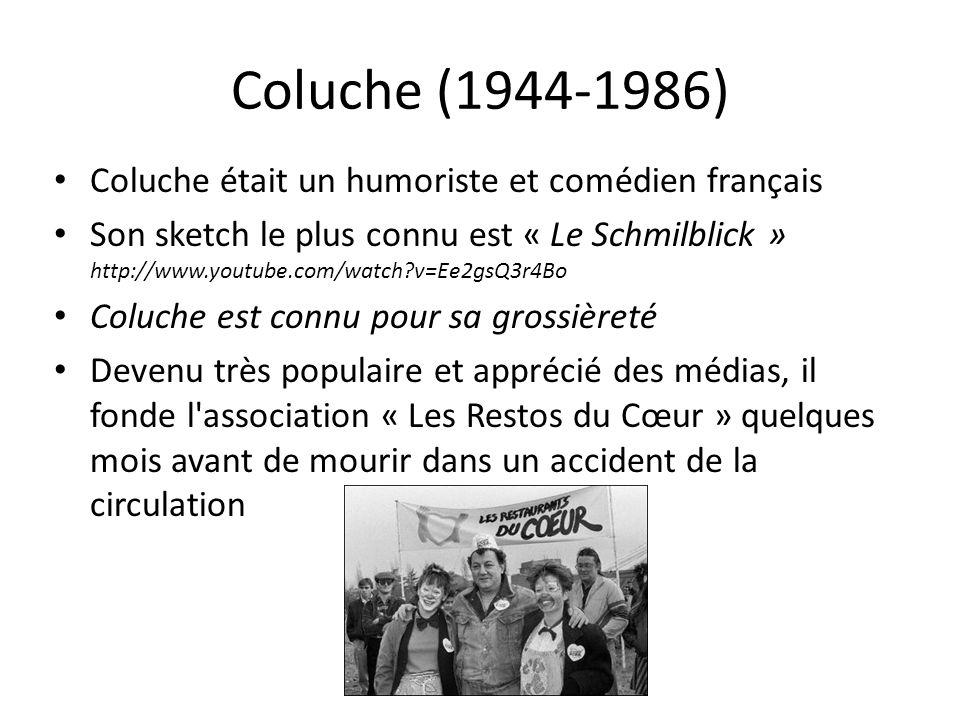 Coluche (1944-1986) Coluche était un humoriste et comédien français