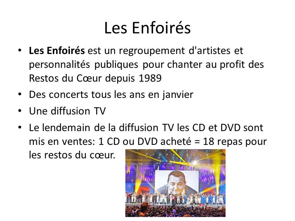Les Enfoirés Les Enfoirés est un regroupement d artistes et personnalités publiques pour chanter au profit des Restos du Cœur depuis 1989.