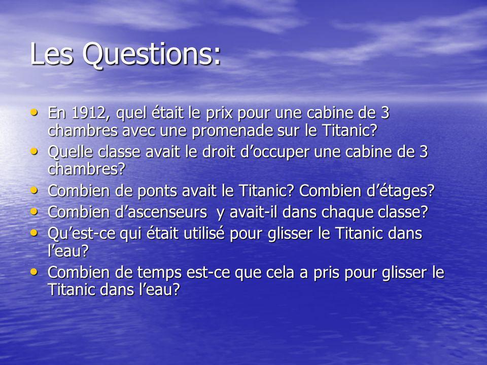 Les Questions: En 1912, quel était le prix pour une cabine de 3 chambres avec une promenade sur le Titanic