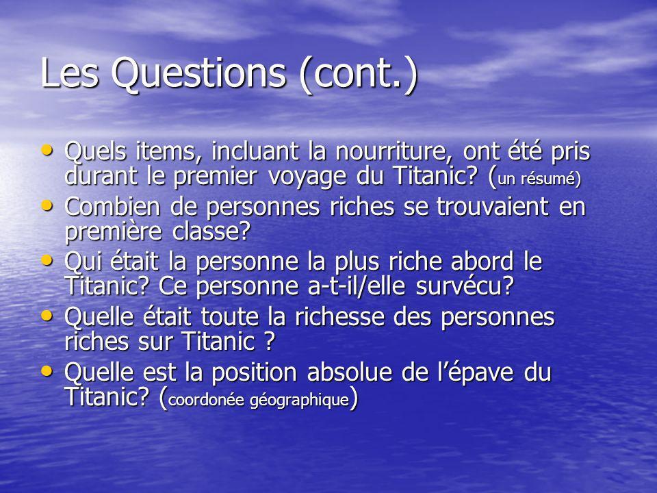 Les Questions (cont.) Quels items, incluant la nourriture, ont été pris durant le premier voyage du Titanic (un résumé)