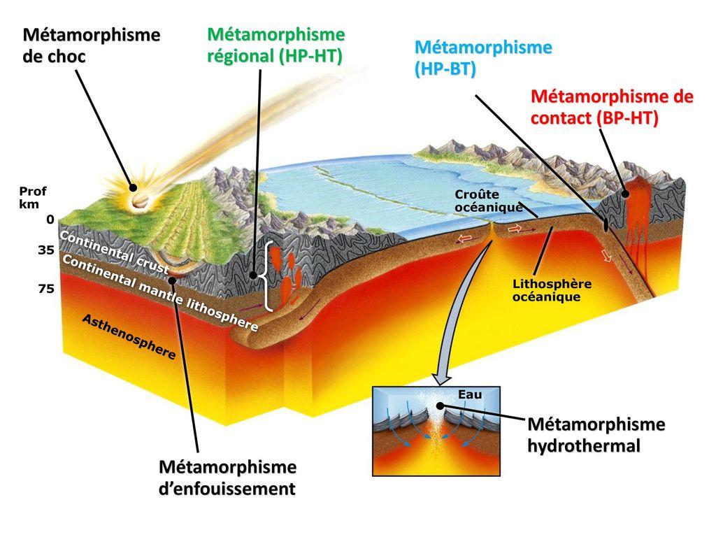 Métamorphisme régional (HP-HT) Métamorphisme (HP-BT)