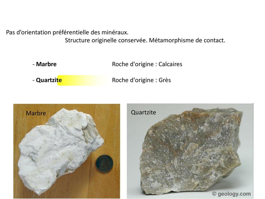 Pas d'orientation préférentielle des minéraux.