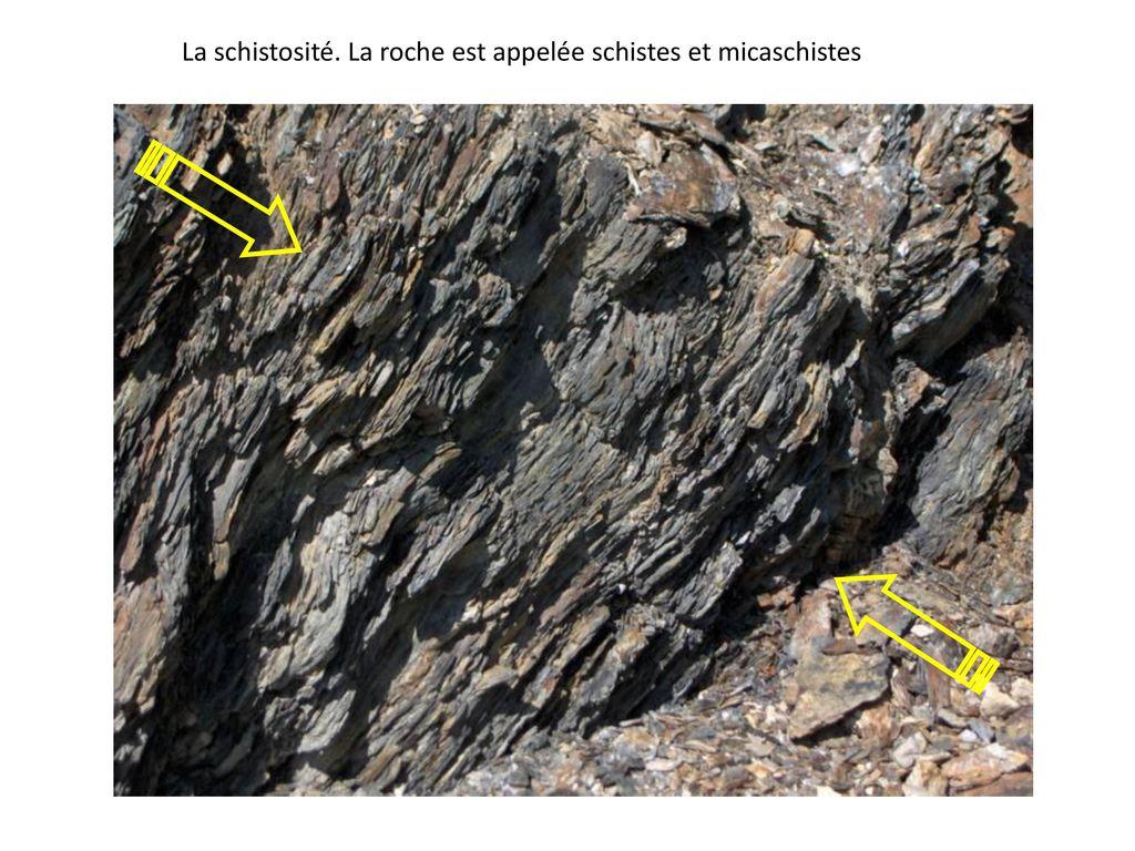 La schistosité. La roche est appelée schistes et micaschistes