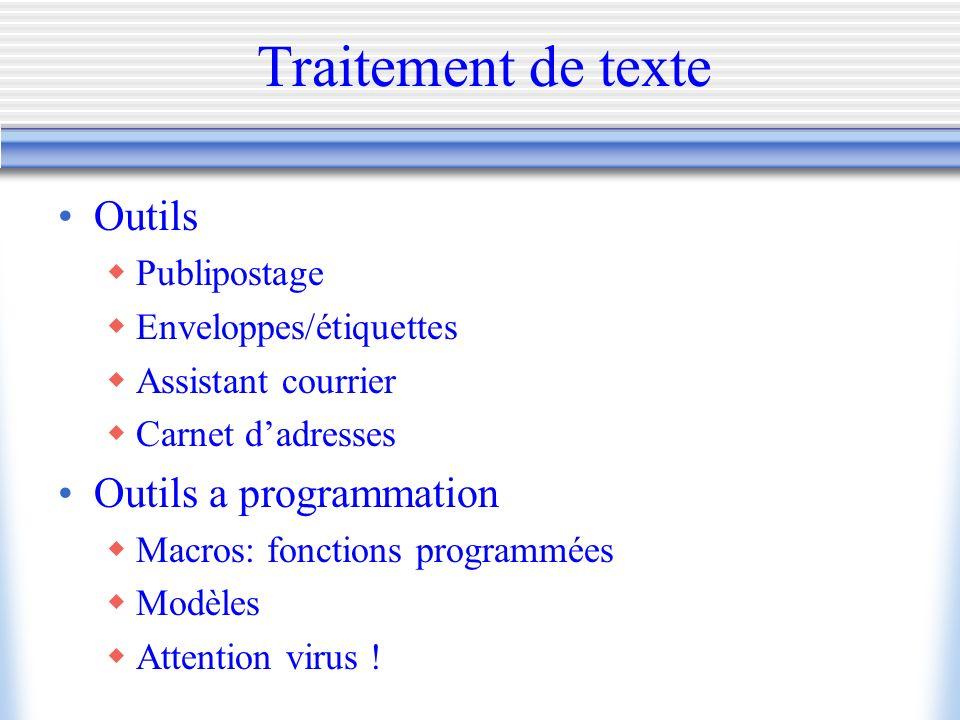 Traitement de texte Outils Outils a programmation Publipostage