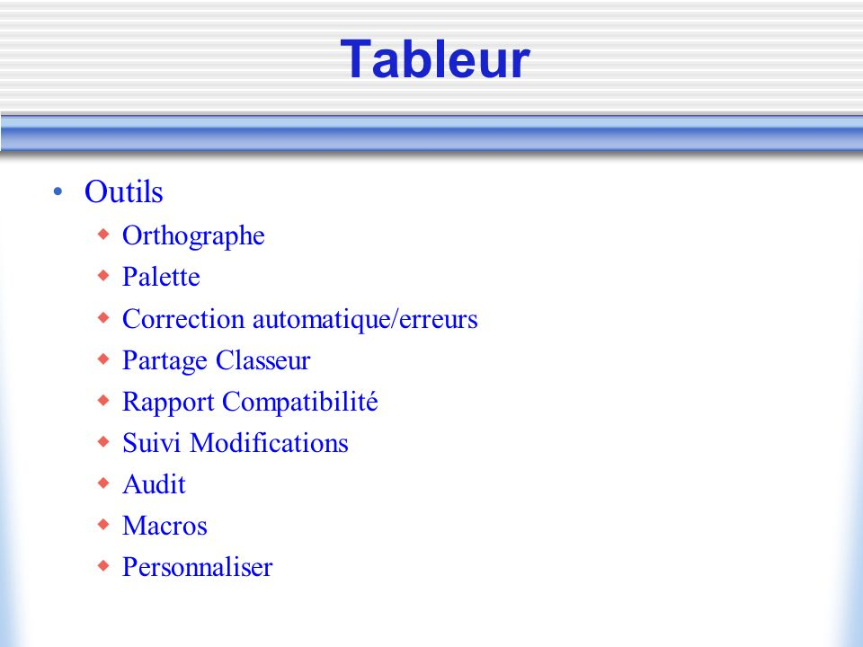 Tableur Outils Orthographe Palette Correction automatique/erreurs