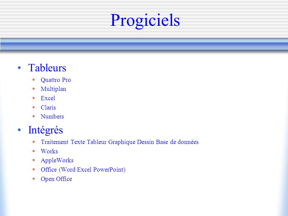 Progiciels Tableurs Intégrés Quattro Pro Multiplan Excel Claris