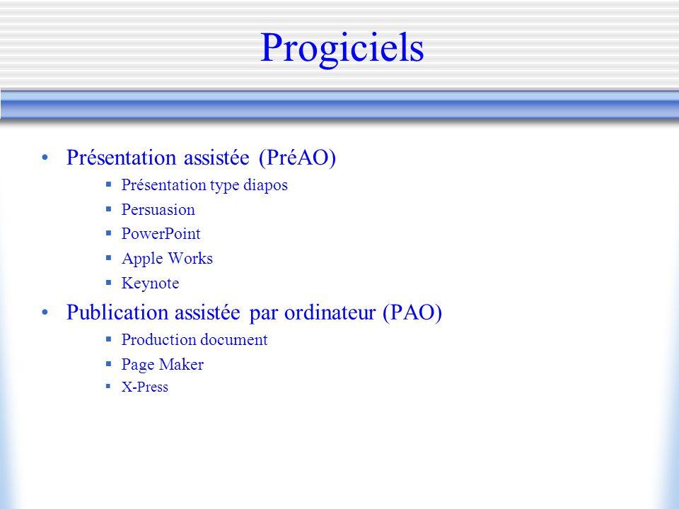Progiciels Présentation assistée (PréAO)