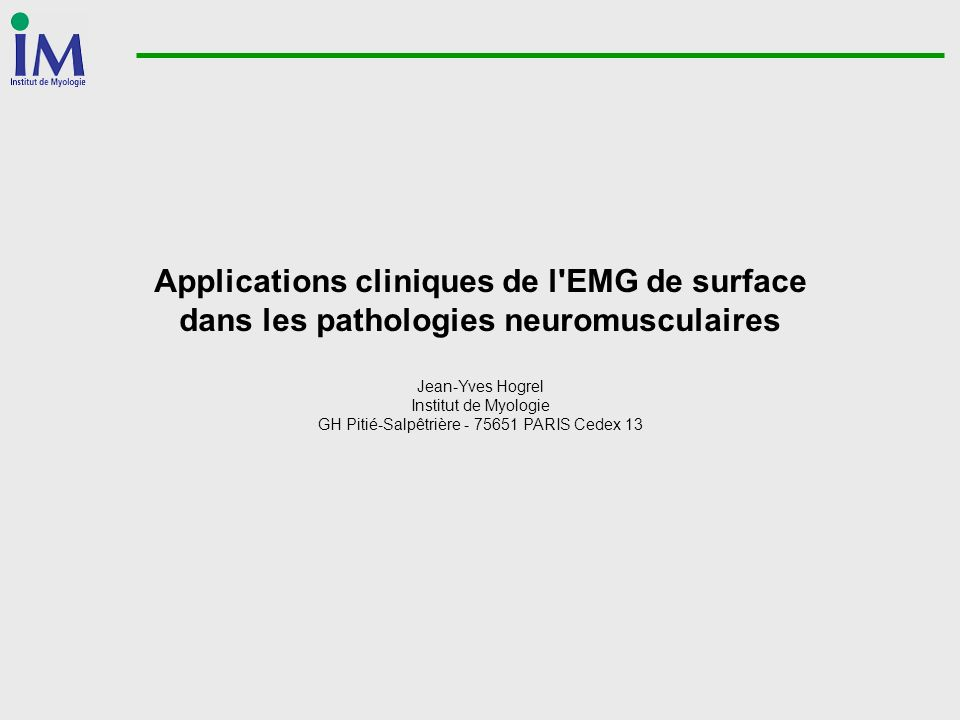 Applications cliniques de l EMG de surface