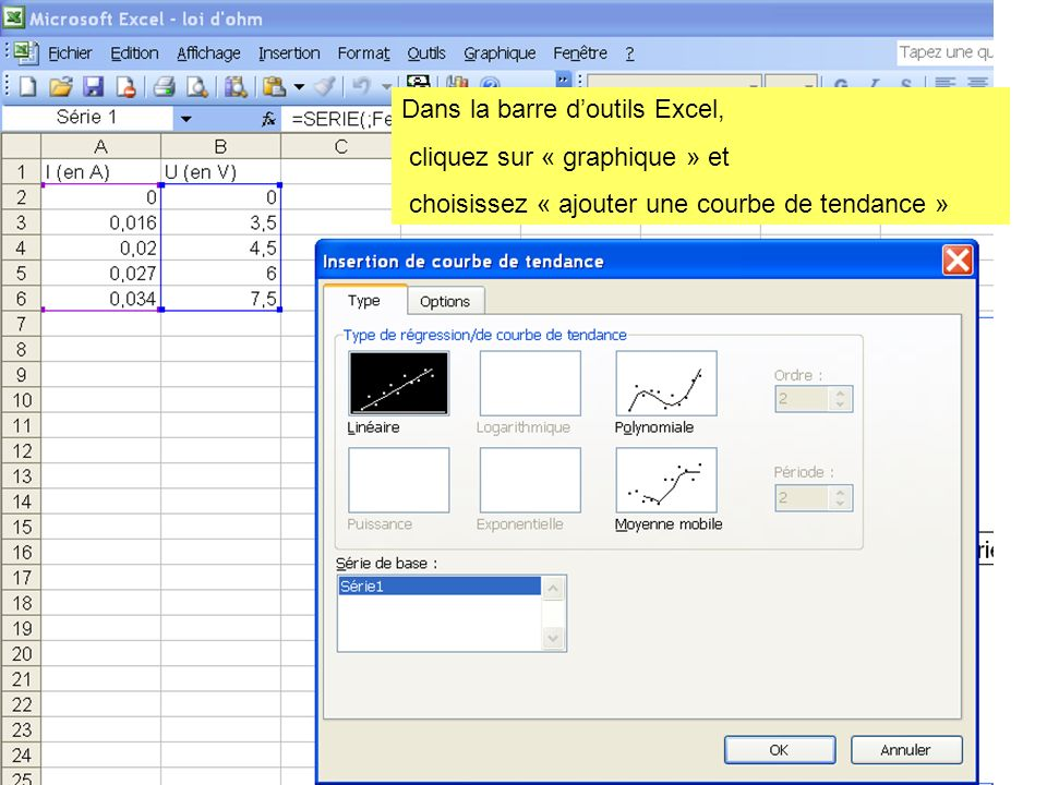 Dans la barre d'outils Excel,