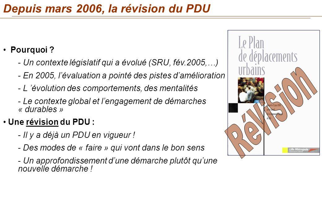 Révision Depuis mars 2006, la révision du PDU Pourquoi
