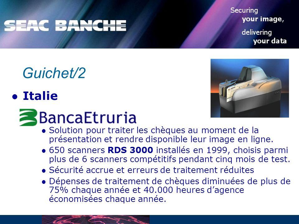 Guichet/2 Italie. Solution pour traiter les chèques au moment de la présentation et rendre disponible leur image en ligne.