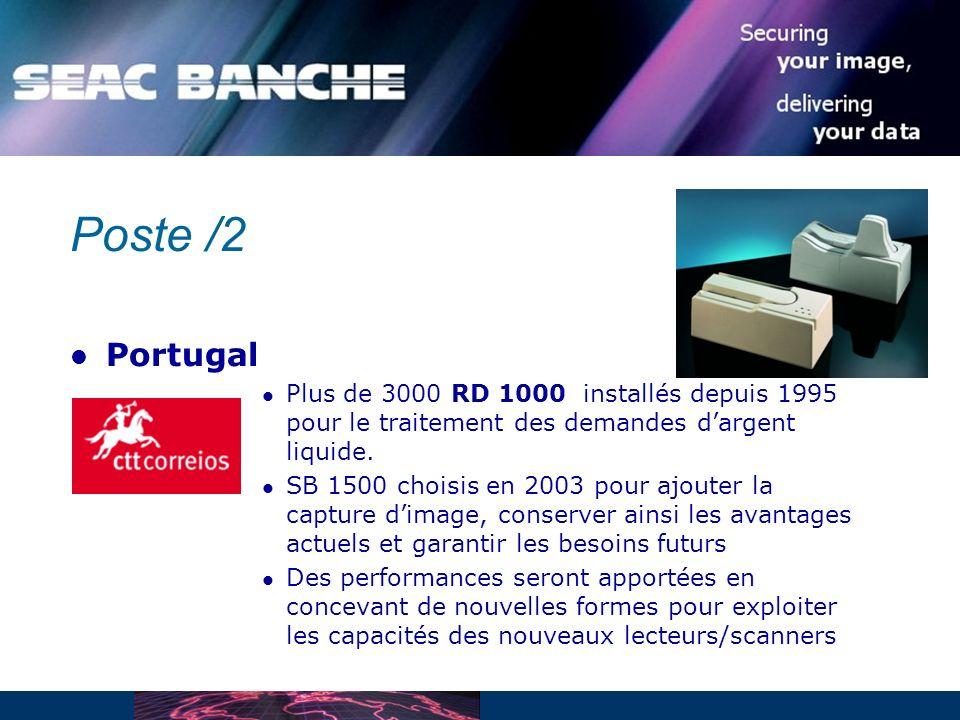 Poste /2 Portugal. Plus de 3000 RD 1000 installés depuis 1995 pour le traitement des demandes d'argent liquide.