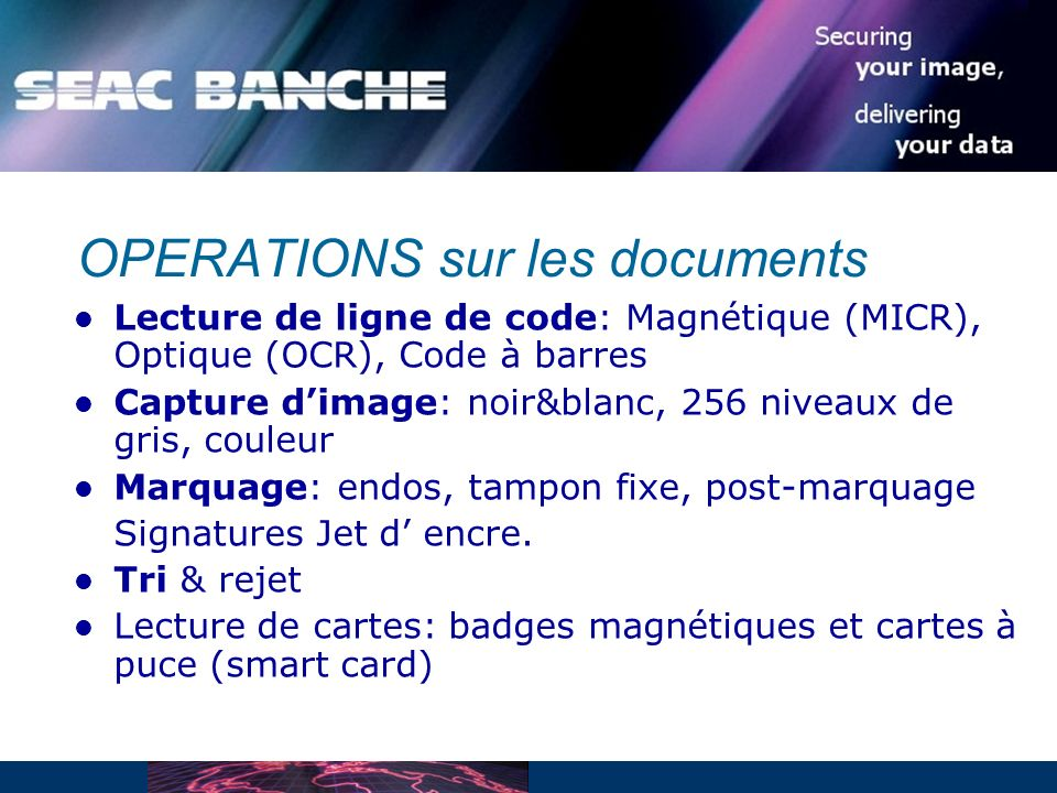 OPERATIONS sur les documents