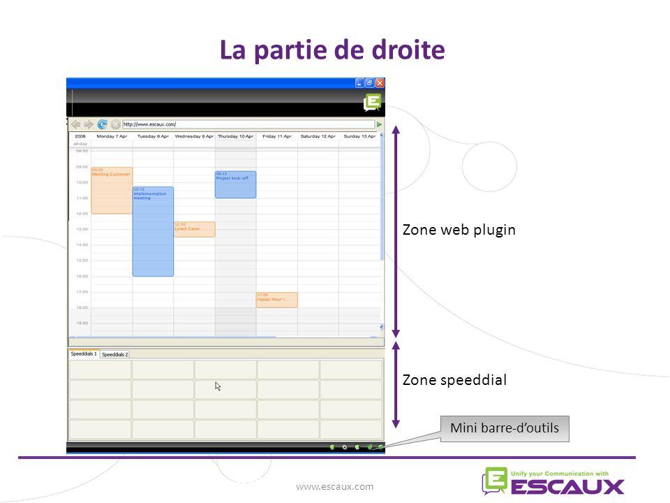La partie de droite Zone web plugin Zone speeddial www.escaux.com