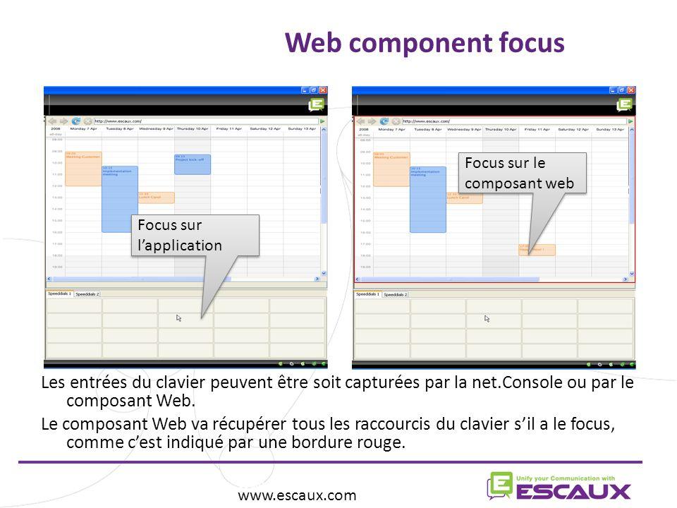 Web component focus Focus sur le composant web. Focus sur l'application.