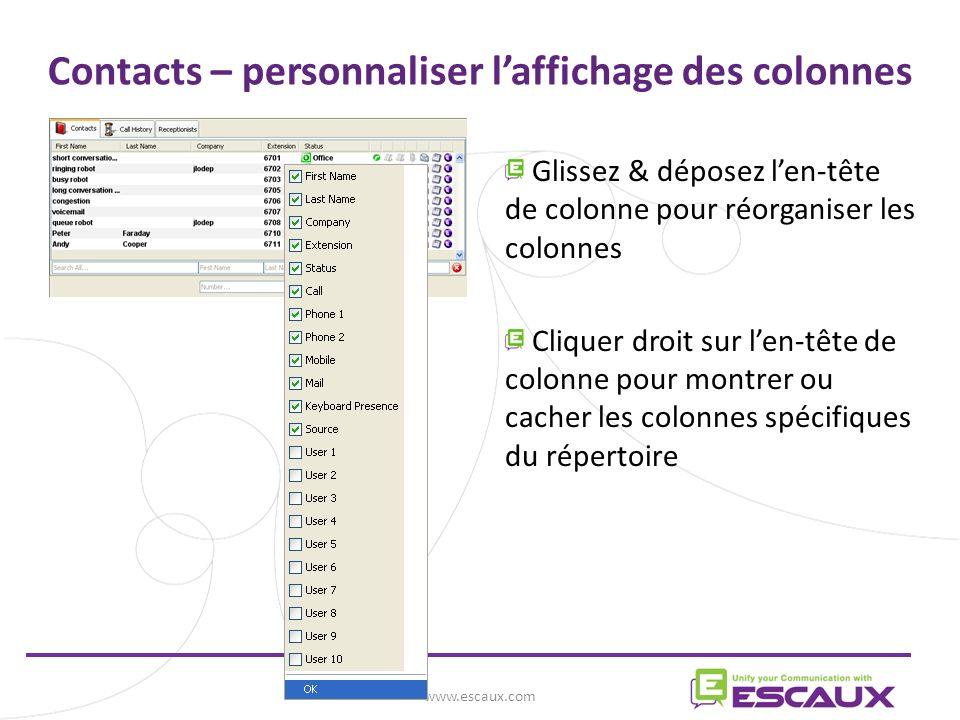 Contacts – personnaliser l'affichage des colonnes