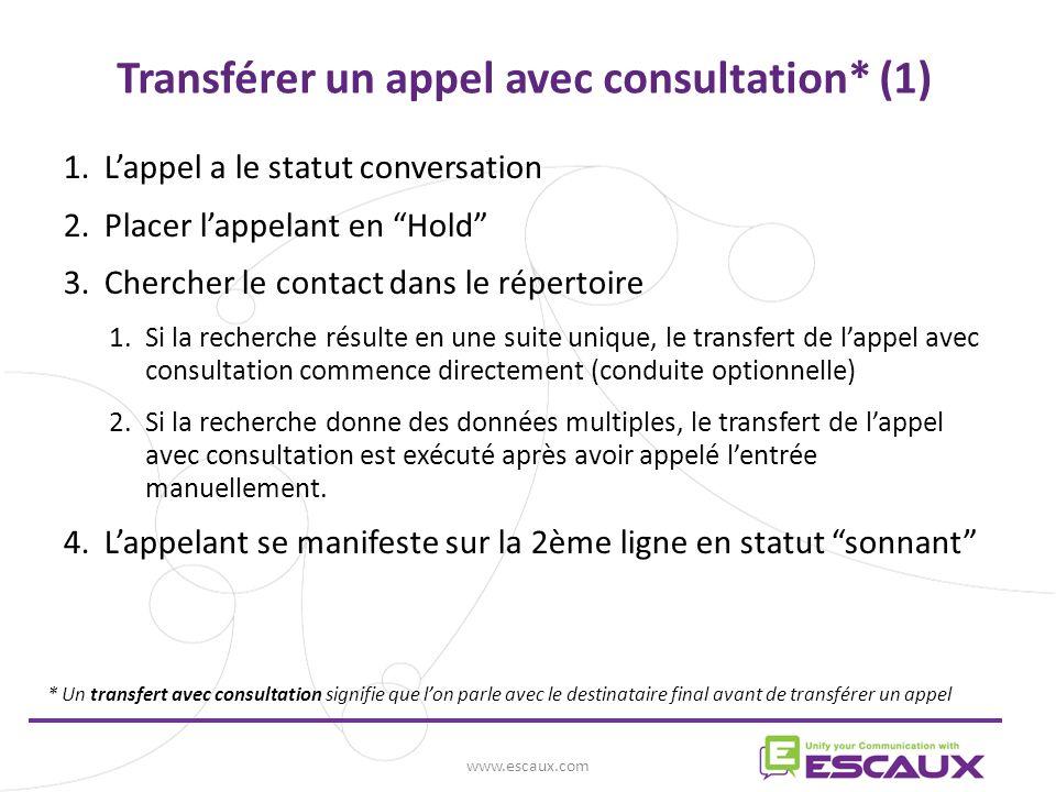 Transférer un appel avec consultation* (1)