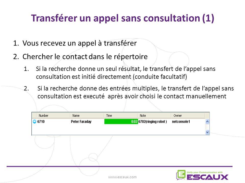 Transférer un appel sans consultation (1)